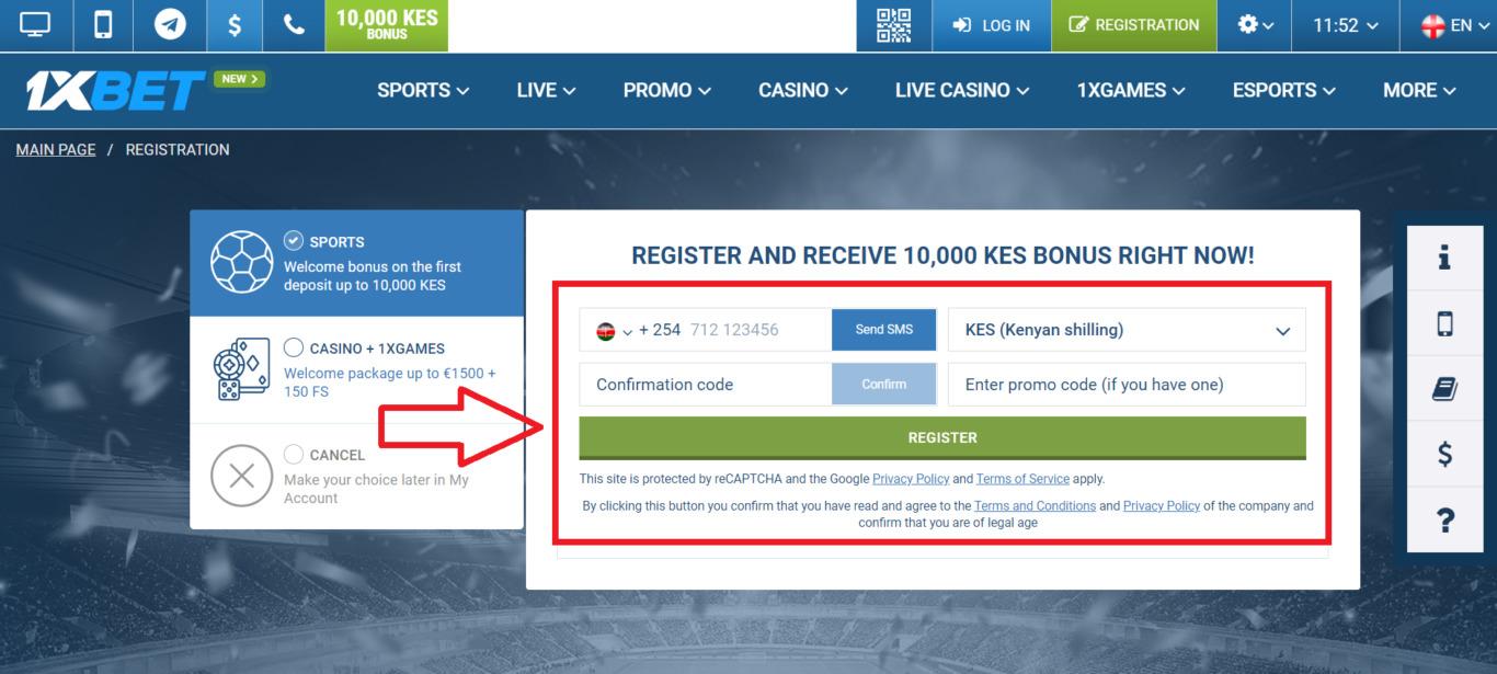 How to register 1xBet via SMS At Kenya?